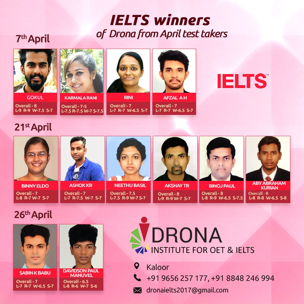 IELTS Winners of Drona from April test takers
