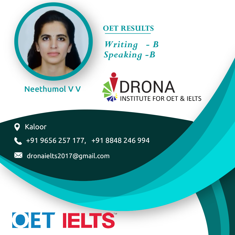 Neethumol. V. V Successfully cleared OET  writing and speaking with B