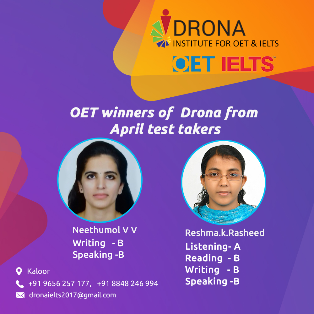 OET Winners of Drona from April test takers